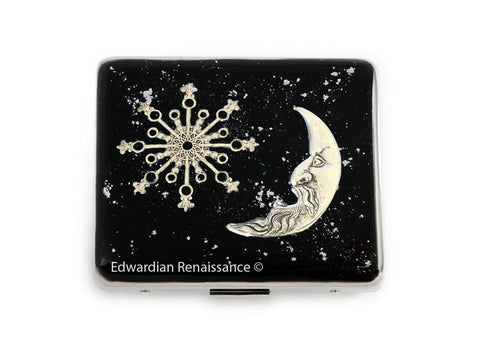 Celestial Weekly Pill Box with 8 Compartments in Hand Painted Black with Silver Splash Art Nouveau Design Personalized and Color Options
