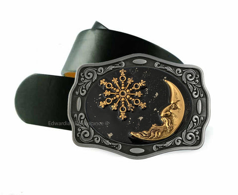 Moon and Star Belt Buckle Inlaid in Hand Painted Black Enamel with SIlver Splash Celestial Design Neo Victorian Inspired With Color Options
