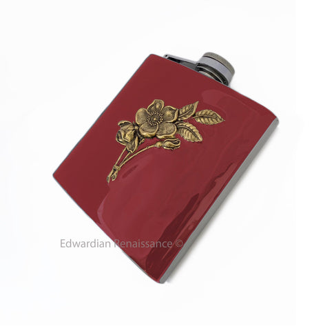 Art Nouveau Flask Roses Bouquet Inlaid in Hand Painted OxBlood Enamel Custom Personalized Engraving and Personalized Options Available