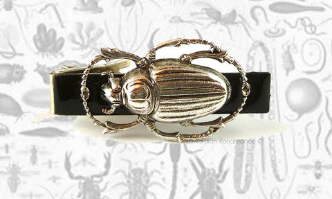 Tie Clip Steampunk Egyptian Scarab Antique Sterling Silver Vintage Style Gothic Beetle Tieclip Neck Tie Bar Accent