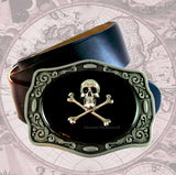 Antique Silver Skull and Crossbones Belt Buckle Inlaid in Hand Painted Glossy Black Onyx Enamel Neo Victorian Inspired with Color Options