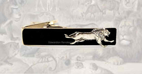 Running Lion Tie Clip Inlaid in Hand Painted Glossy Black Onyx Enamel Safari Inspired Vintage Style Leo Neck Tie Bar Accent