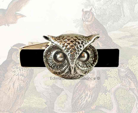 Owl Tie Clip Harry Potter Inspired Tie Bar Vintage Style Inlaid in Hand Painted Glossy Black Enamel with Cufflinks and Tie Pin Set Option