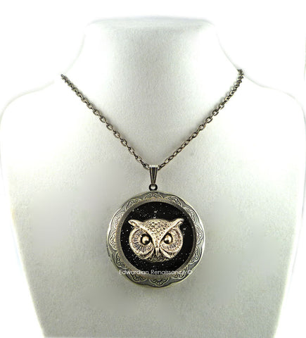 Gothic Owl Pill Box Necklace Locket Inlaid in Hand Painted Glossy Black Onyx Enamel Art Deco Design with Personalized Option