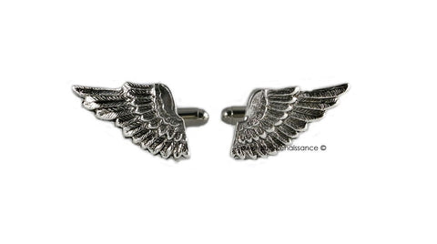 Antique Sterling Silver Angel Wings Cufflinks Neo Victorian Vinatge Style Cuff Links Mens Dress Shirts Accessory