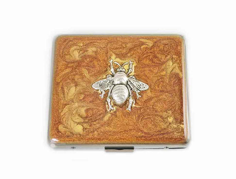Queen Bee Weekly Pill Box Inlaid in Hand Painted Bronze with Gold Swirl Design Enamel Neo Victorian Insect Personalized and Custom Color