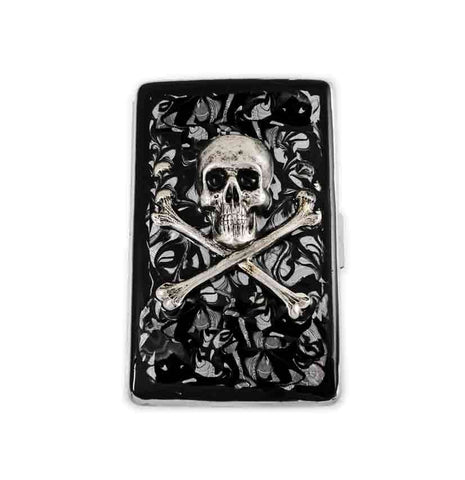Metal Cigarette Case Silver Skull and Cross Bones Inlaid in Hand Painted Glossy Black Ink Swirl Design Custom Colors and Personalized Option