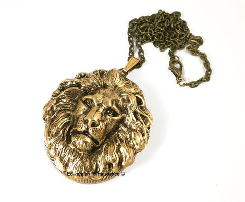 Antique Gold Lion Head Inlaid in Oxidized Gold Large Pill Box Locket Leo Neoclassic Design Necklace with Personalized and Color Options