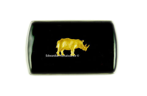 Business Card Case Brass Rhino Metal Card Holder Neo Victorian Safari Credit Card Id Case with Slide Out Mechanism