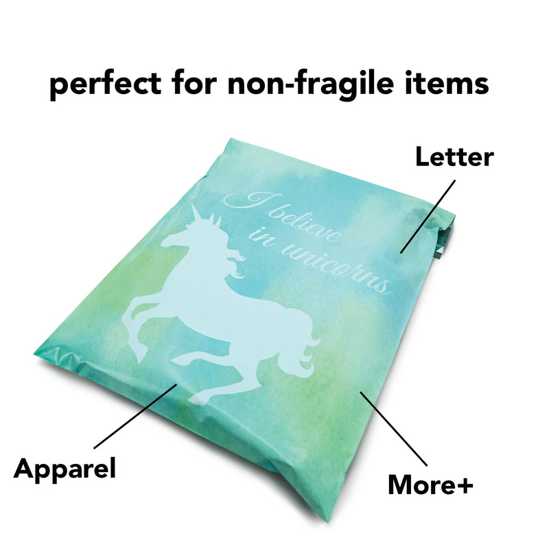 100/200/1000 CT 10 x 13 Unicorn Mint Premium Designer Printed Poly Mailer Shipping Envelopes Waterproof Self Seal Adhesive Package Mail Bag