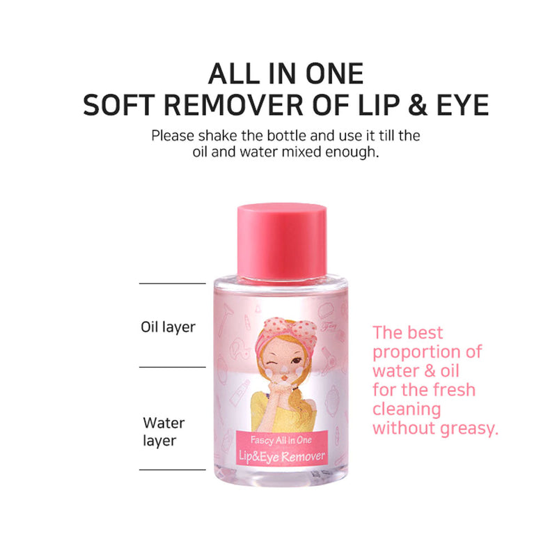 Fascy K-Beauty Waterproof Lip & Eye Makeup Remover, Removes in 3 Sec, 120ml