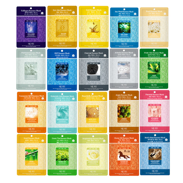 Pack of 20, The Elixir Beauty Nature Essence Collagen Full Face Facial Mask Sheet, 23ml x 20 Sheets