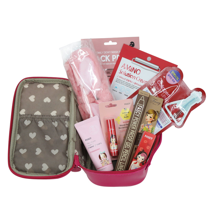 The Elixir Beauty Korean Makeup Box Variety Bundle - Sheet Face Mask Pack, Lip Stick, Lip Balm, Gel Pencil Liner, Spa Headband, Hand Cream, W/ Carrying Pouch Included
