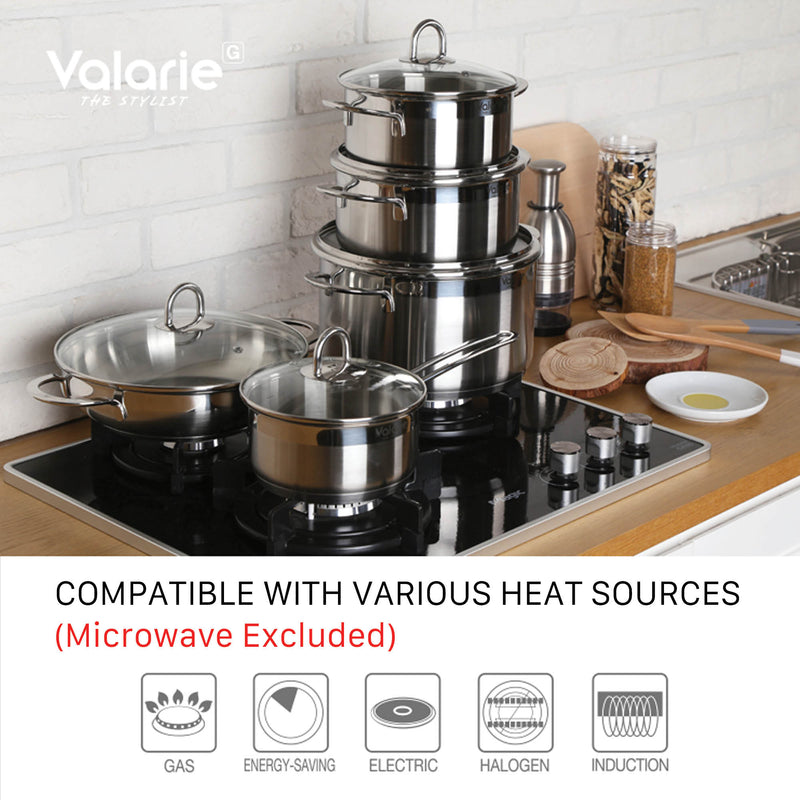 Valarie Korean Tri-Ply Aluminum Stainless Steel Induction Cookware 16 CM 1.6-Quart QT Saucepan With Lid