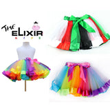 The Elixir Kids Girls Layered Rainbow Tutu Skirt Ruffle Tiered Ballet Dance Party Dress, 3 Sizes