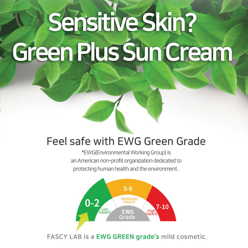 FASCY LAB Green+ Suncream SPF50+ , PA++++, Anti-Wrinkle & Moisturizing Sun Block For Sensitive Skin Low Irritation, No White Cast (50ml / 1.69 Fl. Oz)