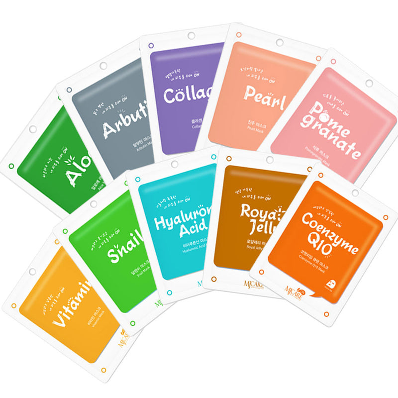 Korea Cosmetic Collagen Essence Full Face Facial Mask Sheet, 20 Combo Pack