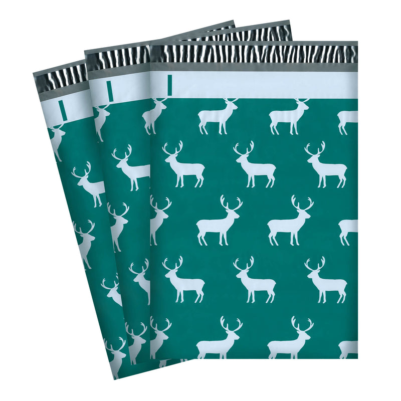 100/200/1000 CT 10 x 13 Reindeer Premium Designer Printed Poly Mailer Shipping Envelopes Waterproof Self Seal Adhesive Package Mail Bag