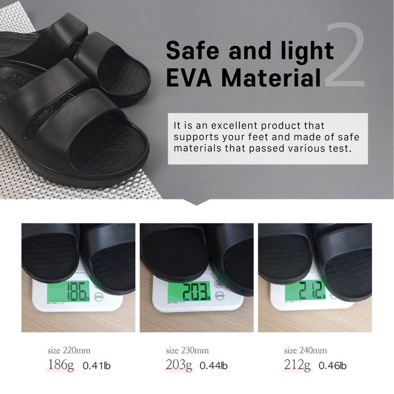 MENFURS ARI-S EVA Material Slippers with Arch Support Ergonomic 3D Insole w/ Non-Slip Design - Lightweight & Comfortable Cushioned Feel For Tired Feet (Black)