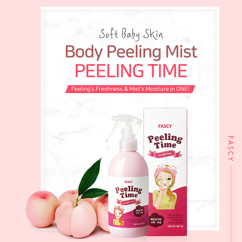 Fascy K-Beauty Peeling Time, Peach Body Peeling Mist Spray, Mild Body Scrub