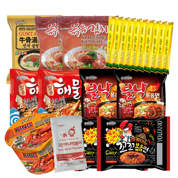 (Pack of 21) Korean Hit Ramen Variety Pack w/ Tteokbokki Sauce, Kimchi, Coffee Mix
