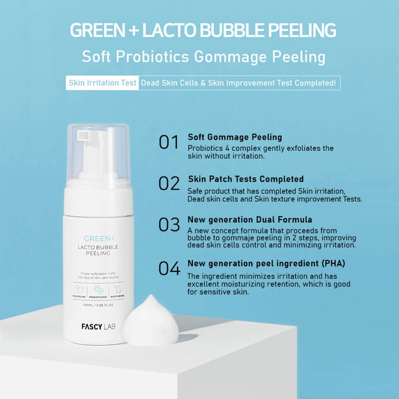 FASCY Lab Green+ Lacto Bubble Peeling Probiotic Exfoliation Moisturizing PHA Gentle Face Scrub Hypoallergenic For Sensitive Skin (100 ml / 3.39 Fl. Oz)