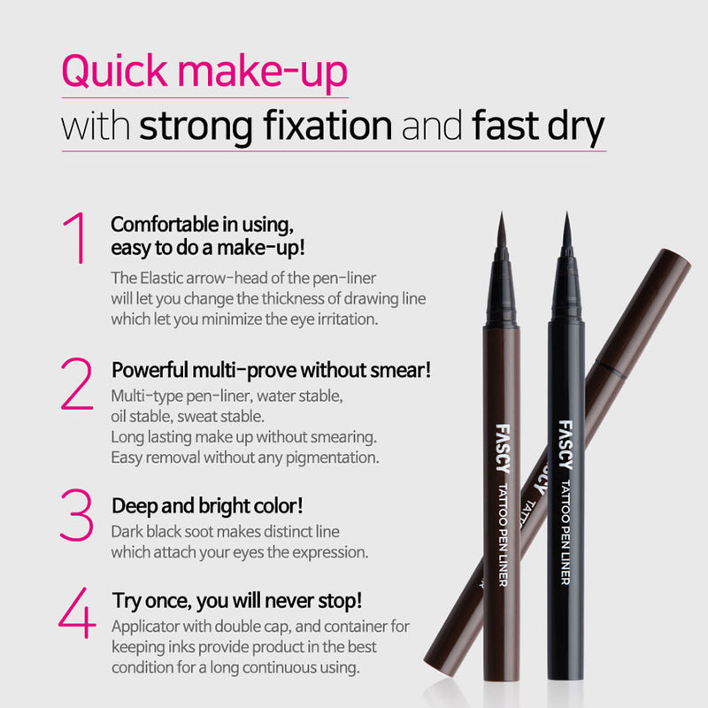 Fascy K-Beauty Tattoo Pen Liner Eyeliner, All Day Waterproof, Felt-Tip Eyeliner