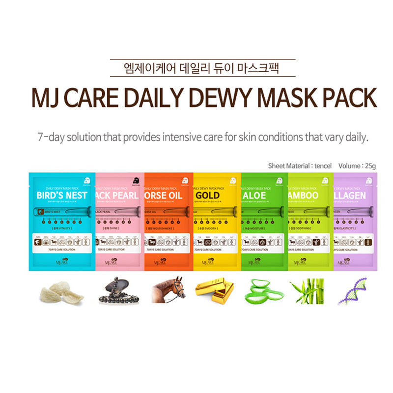 K-Beauty 7 Day Care Dewy Natural Collagen Essence Full Facial Mask Pack Sheet