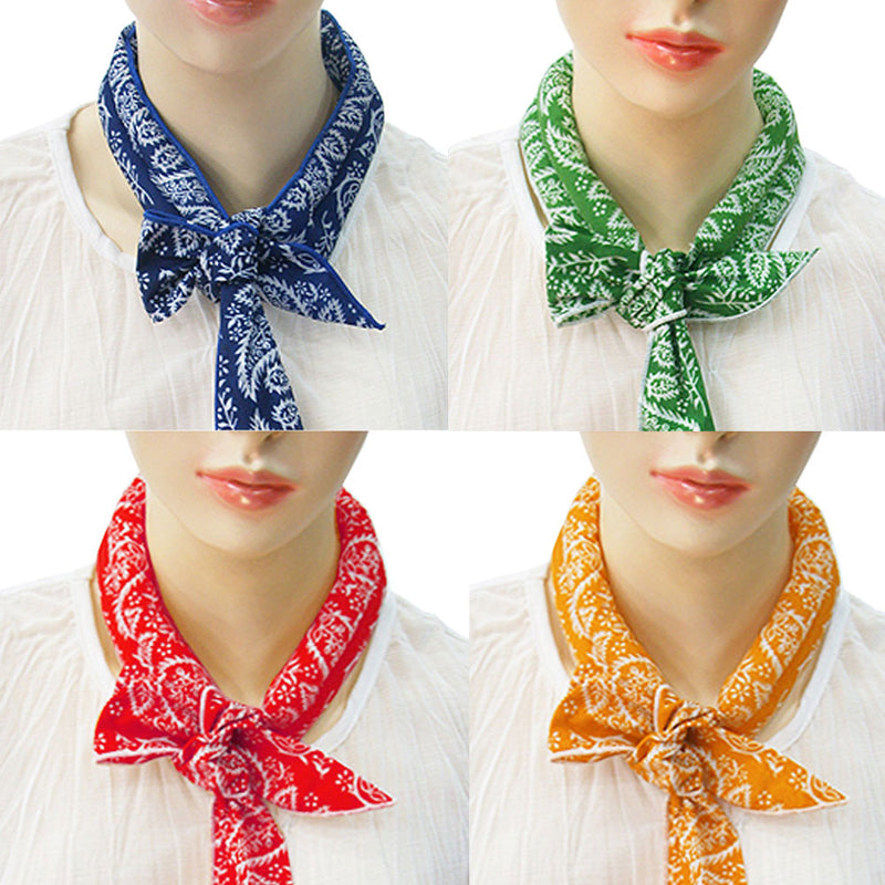 Pack of 4, Ice Cool Scarf Neck Wrap Headband Bandanna Cooling Scarf (Orange, Green, Blue, Red)