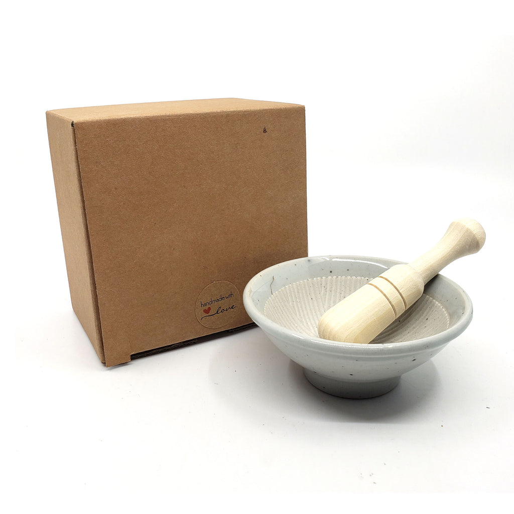 Mini Porcelain Mortar and Natural Wood Pestle Herb Grinder Pill Crusher, Spice Grinder