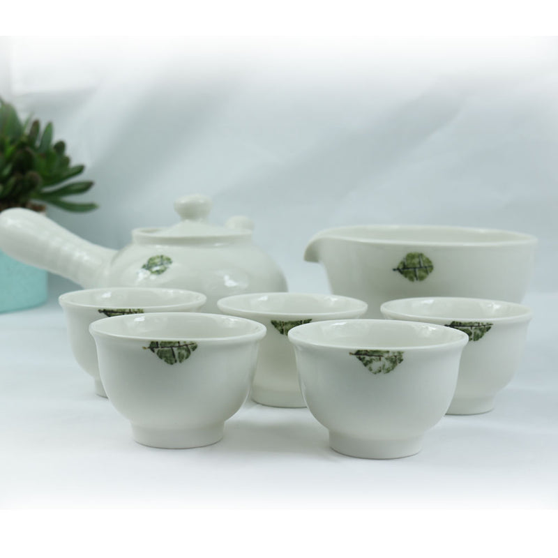 KOYO Handmade Ceramic 7-pcs White Kung Fu Tea Pot Set Japanese Tea Set in Gift Box, Porcelain Ceramics Teapot Set