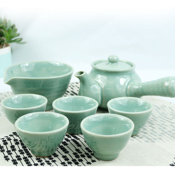 KOYO Handmade Ceramic 7-pcs Celadon Traditional Chinese Teapot Set in Gift Box, Handmade Gongfu Tea Set