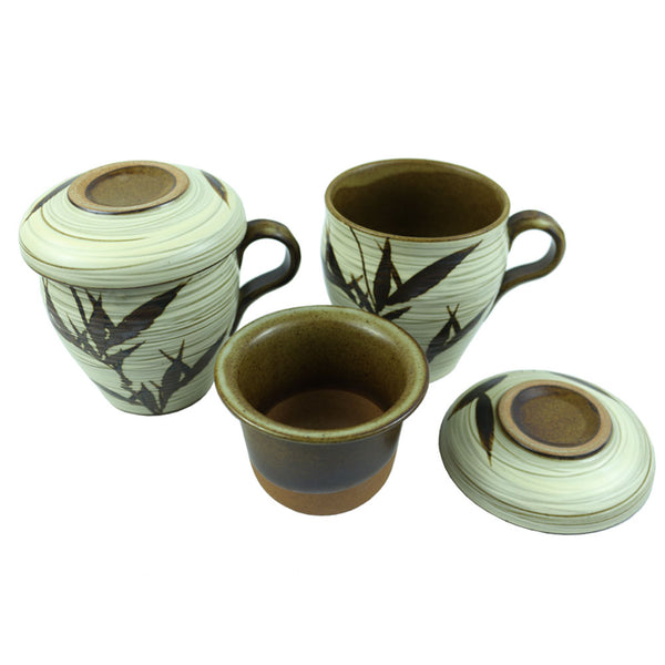 Set of 2, The Elixir KOYO Handmade Ceramic Kung Fu Tea Cup Procealin Tea Cup with Infuser Lid Sets