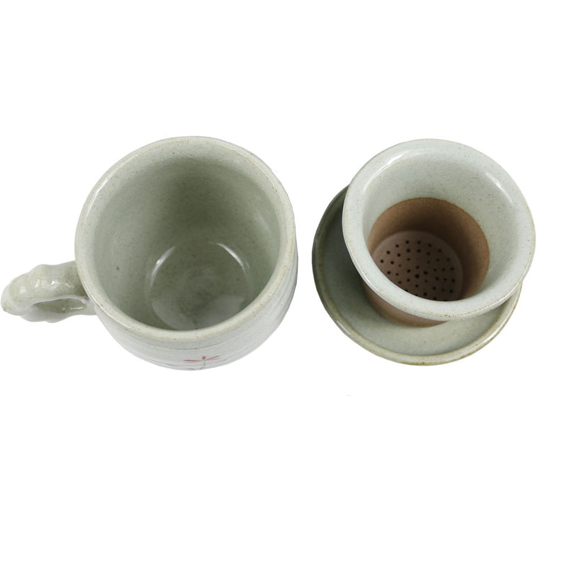 The Elixir KOYO Premium Ceramic Tea Cup with Infuser and Lid Set - Korean Ceramics Earthenware Style Coffe Mug Loose Leaf Tea Brewing