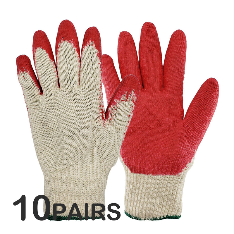 Hand Forged Korean Ho-mi Gardening Tool with 10 Pairs of Red Latex Coated Work Gloves