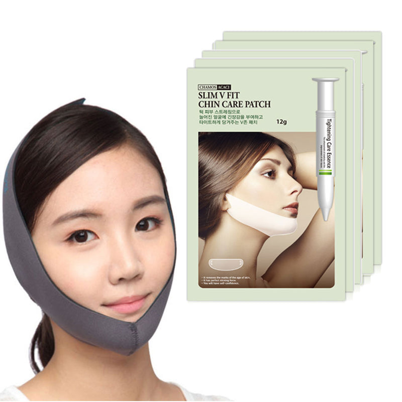K-Beauty V-Line Chin Care Tightening Lift Essence Mask Sheet with Face Slimming Cheek Mask V Line Belt Strap (5 Mask Sheet + 1 Strap)