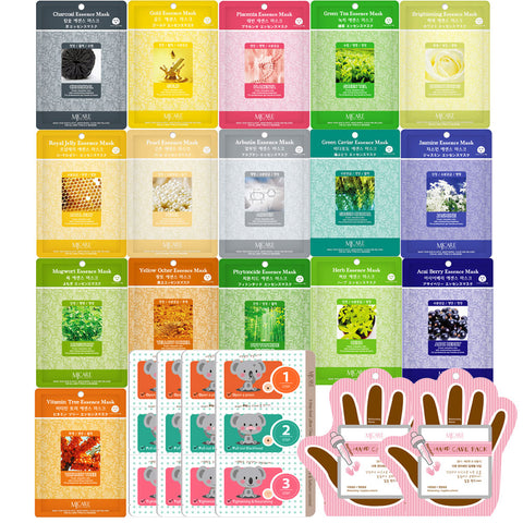 The Elixir Beauty Concentrated Collagen Essence Full Face Facial Mask Sheet with Blackhead Removing Nose Strip and Premium Hand Care Pack, Pack of 22