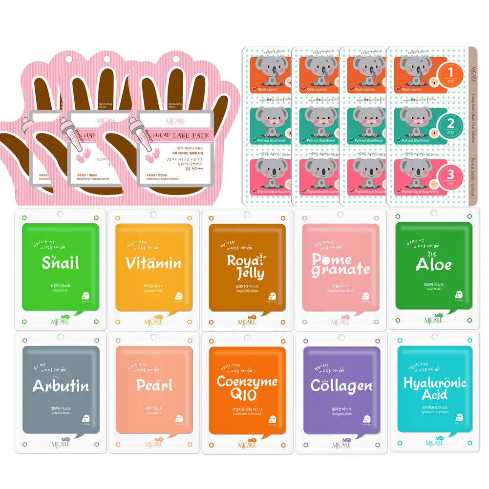 The Elixir Beauty Facial Mask Sheets Full Face Masks Variety Pack with Deep Cleansing Pore Strips and Hand Care Pack, Pack of 28