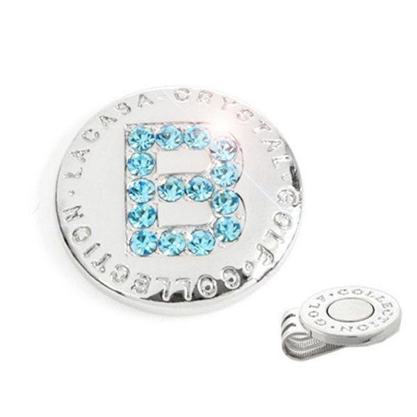 Elixir Golf Crystal Hand-made Golf Ball Marker with Hat Clip, Made of Stellux Austalia Crystal, Initial