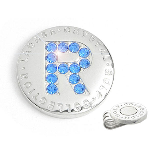 Crystal Hand-made Golf Ball Marker with Hat Clip, Made of Stellux Austalia Crystal, Initial