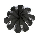 10 pcs Golf Head Cover Club Iron Putter Head Covers Protect Set Neoprene (Black Base)