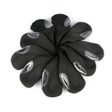 The Elixir Golf 10 pcs Golf Head Cover Club Iron Putter Head Covers Protect Set Neoprene (Black Base)