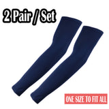 2 Pairs of The Elixir UV Protective Compression Arm Sleeves for Golf Bike Outdoor, Navy