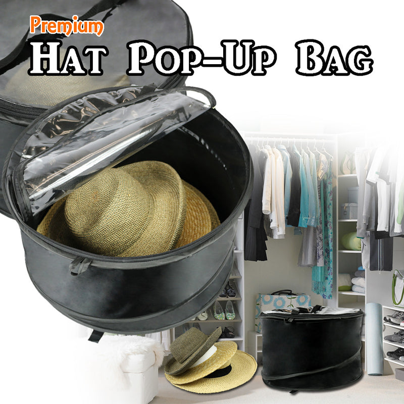 Premium Collapsible Pop-Up Dust Cover Hat Bag Organizer Storage Bag
