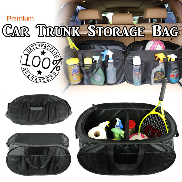 Car Trunk Storage Organizer Bag Multipurpose Collapsible Foldable Cargo Container Box Case, 6 Interior & 6 Exterior Pockets, Black