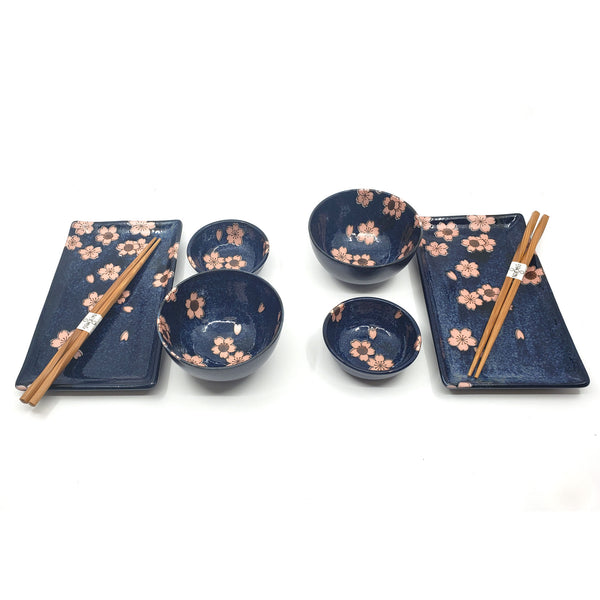 8 Pcs Porcelain Sushi Dinnerset for Two in Gift Box