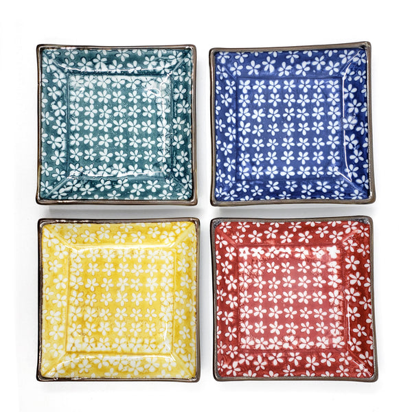 Set of 4, Assorted Color 4.75 inch Squre Ceramic Condiment Sauce Dishes Plate
