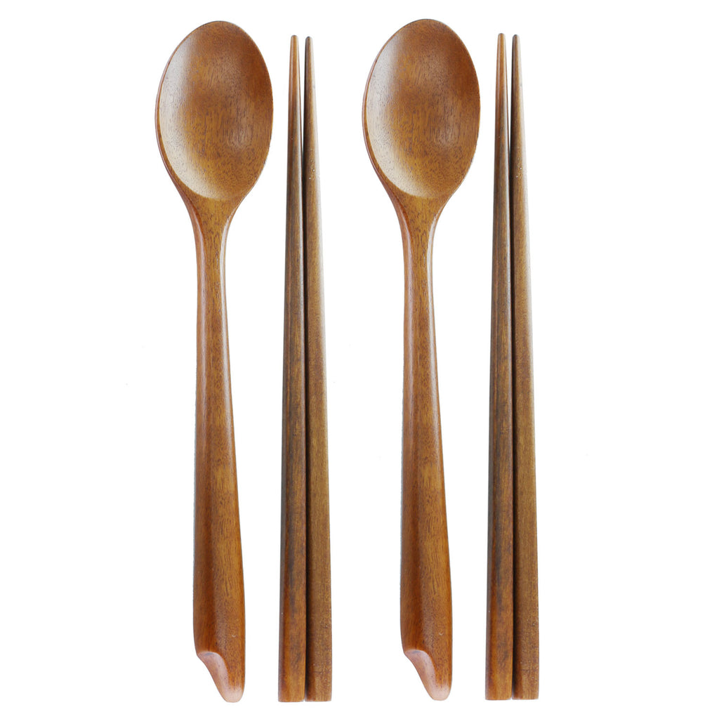 Pack of 2, The Elixir Eco Green Handmade Jujube Tree Wooden Spoon and Chopstick Set, Korean Dinnerware Utensils, Spoons and Chopsticks