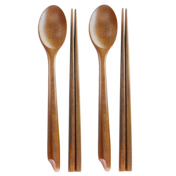 Pack of 2, Handmade Jujube Tree Wooden Spoon and Chopstick Set, Korean Dinnerware Utensils