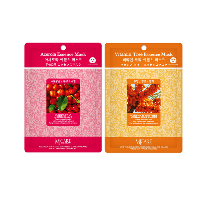 Pack of 100, Korean Collagen Essence Full Facial Mask Sheets Variety Pack